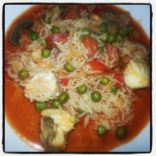 seafood and chorizo rice