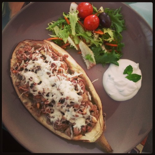 lamb and greek yoghurt stuffed aubergine