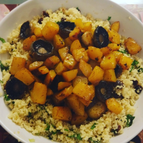 cous cous with roasted butternut squash and mushrooms
